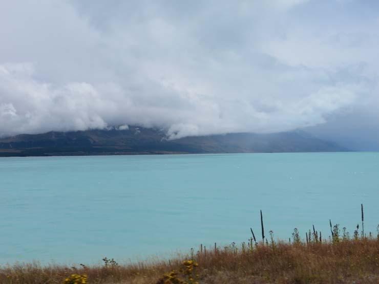 bright blue Lake Tekapo
