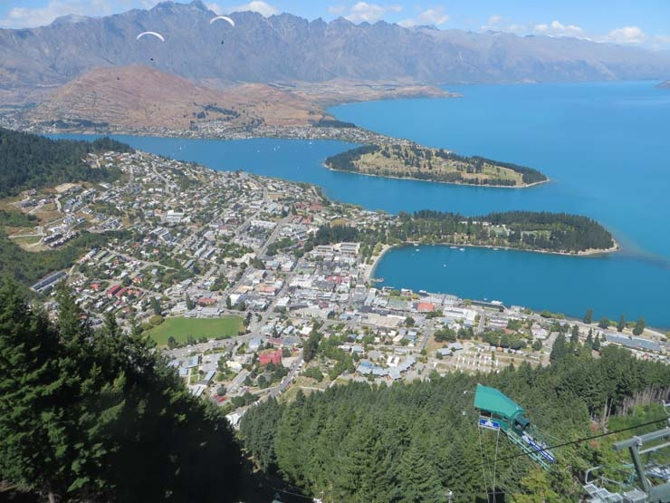 View of Queenstown from the top of the gondola