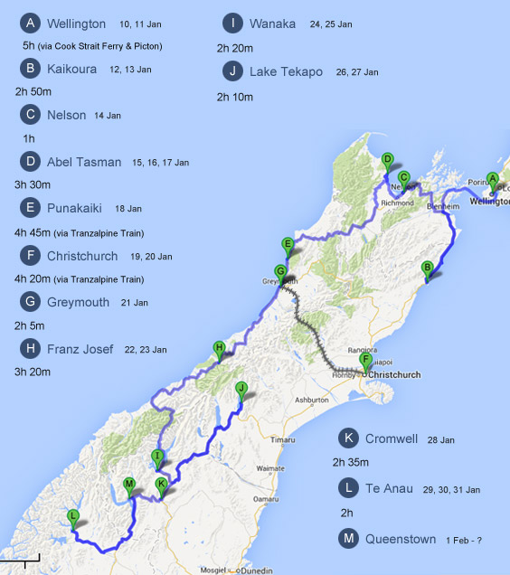 South Island Driving Route New Zealand – Map Driving Route