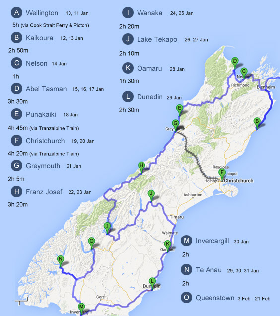 Detailed Map Of New Zealand South Island.Update To Our South Island Driving Route Bossing New Zealand